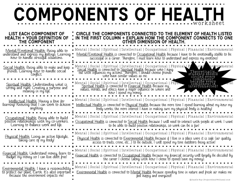 Worksheet 7th Grade Health Worksheets components of health lesson plans part 1 project school wellness then on the right side paper they were suppose to determine which elements connect component highlighted