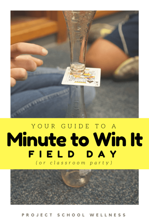 The ultimate teacher guide to a Minute to Win It Field Day (or classroom party)! Check out how Janelle from Project School Wellness organized a Minute to Win It themed end-of-year middle school Field Day. Guide includes links to 20 Minute to Win It games, supply list, and a behind-the-scenes planning guide!