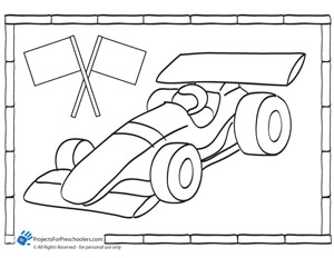 race car coloring page projects for preschoolers. Black Bedroom Furniture Sets. Home Design Ideas