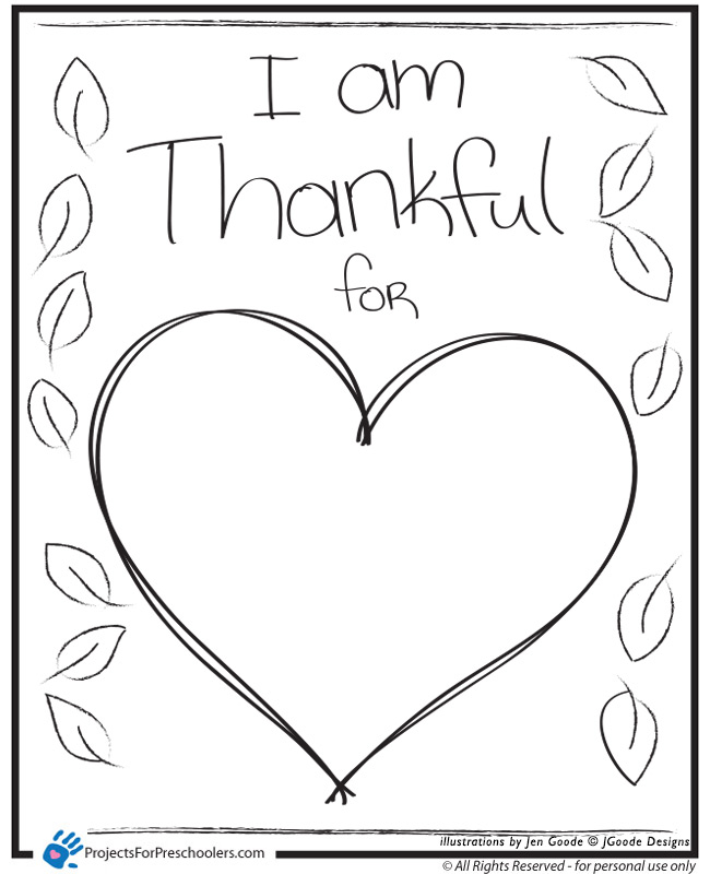 I am Thankful Heart Projects for Preschoolers – I Am Thankful for Worksheets