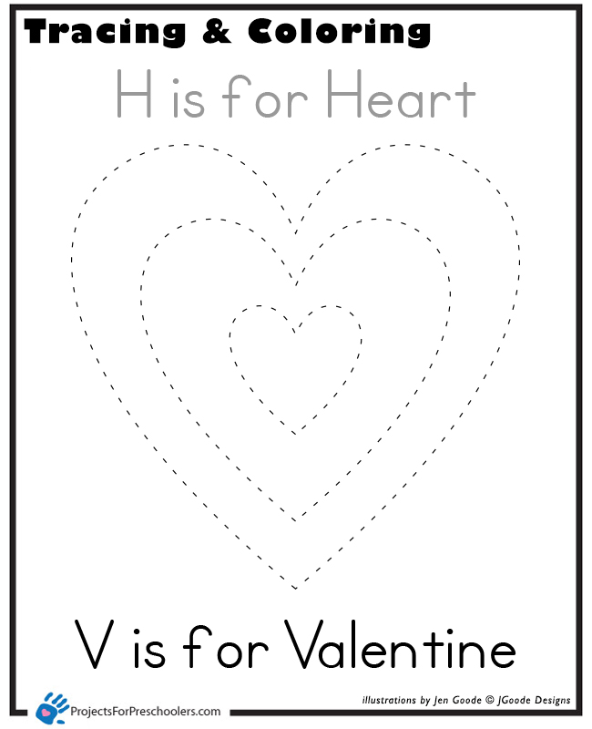 Heart Tracing on 50 Spring Crafts Activities