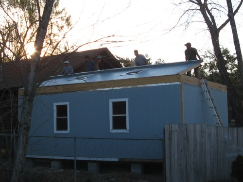 Putting up the second floor walls - Our Classic Manor New Day Cabin - Project Small House