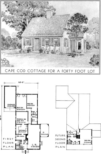 Project Small House Historic House Plans: Eleanor Raymond Cape Cod Cottage for a Forty Foot Lot