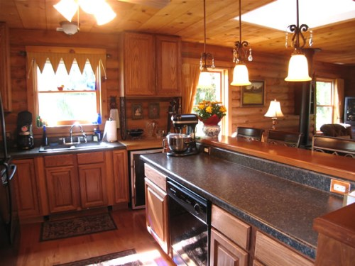 Log Cabin Kitchen Before & After: Work in Progress, The new cabinets before the hardware was put on.