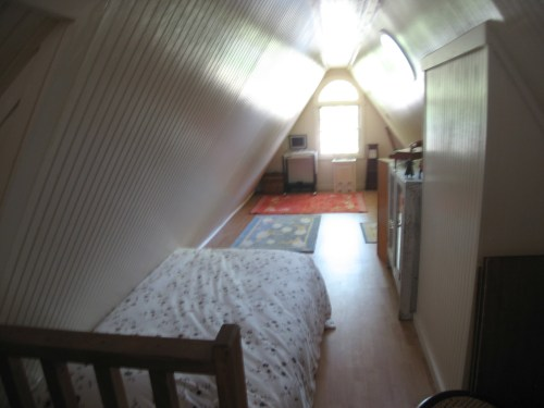 Project: Turning the Attic into a Playroom - The whole house fan is boxed in.