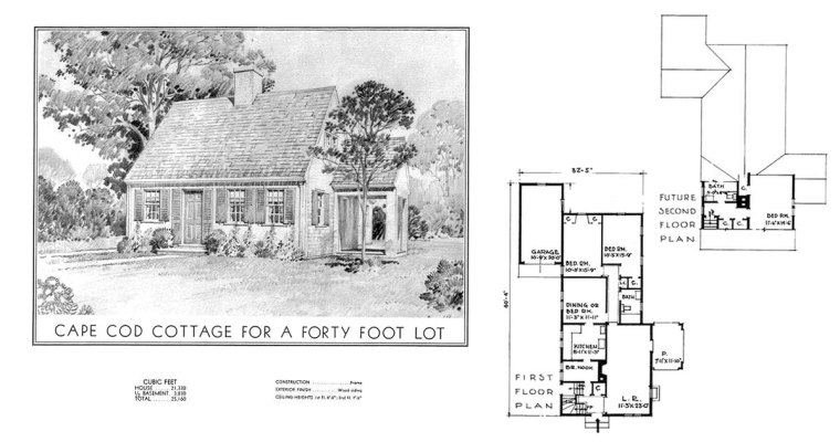 Historic Plans: Eleanor Raymond Cottage for a Forty Foot Lot