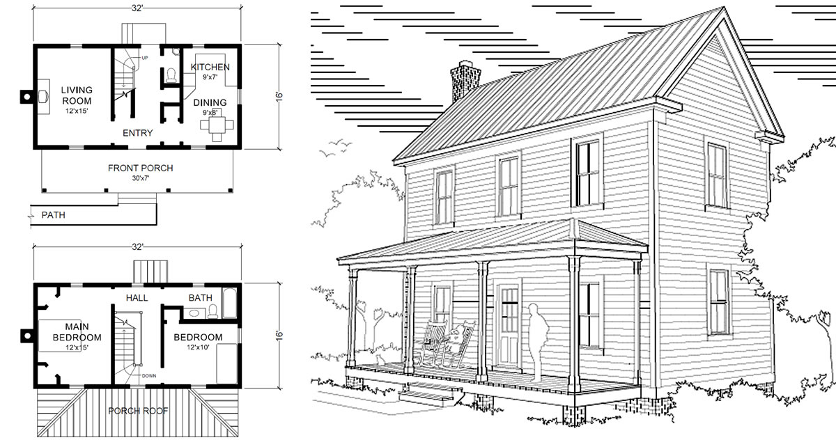 Two story 16 x 32 virginia farmhouse house plans for Farmhouse two story house plans
