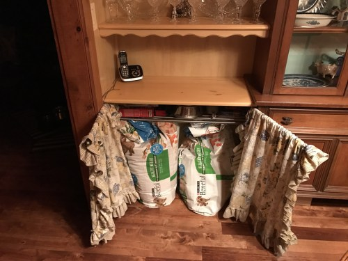 Project: Built-in China Cabinet and Dining Room Storage - Enough storage for two giant Sam's Club bags of dog food.