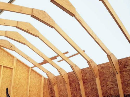 The Richmond Barn Kit by Best Barns includes pre-built gable ends in four foot sections and pre-built truss halves for quick assembly.