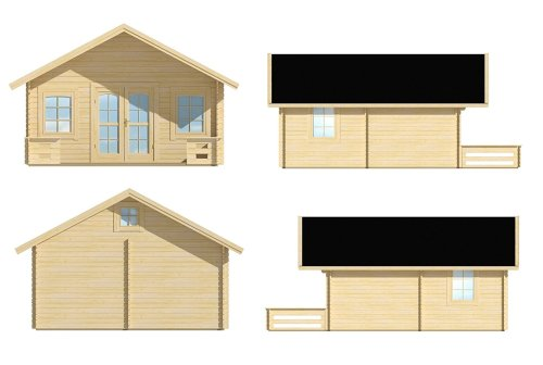 The Lillevilla Getaway Cabin Kit includes a front porch, windows and doors.