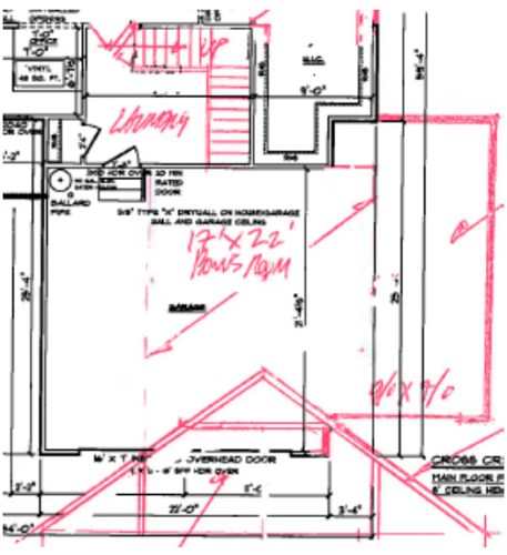 Plans to add a 3rd bay to the garage and add a large bonus room above.