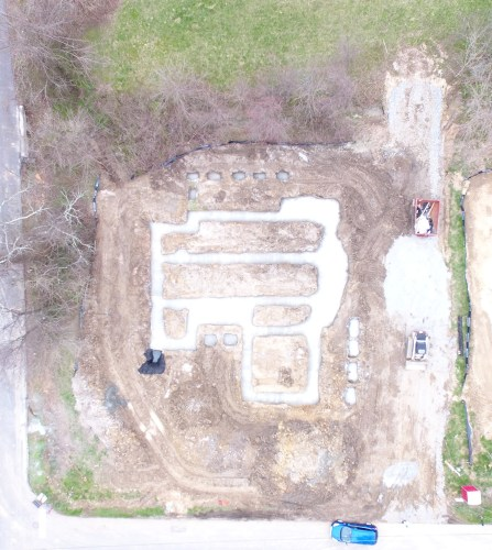 Drone eye view of the footers.
