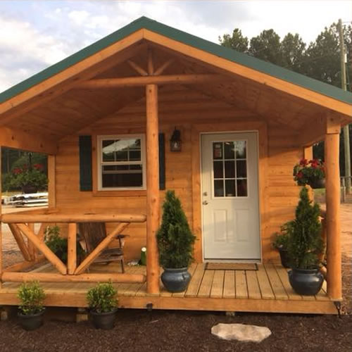 Front Porch of a Modular Log Cabin - 12' x 24' Modular Log Cabin for under $10,000 - Project Small House