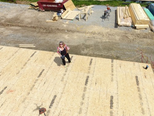 Me, standing on our new floor! - Building our Schumacher Home