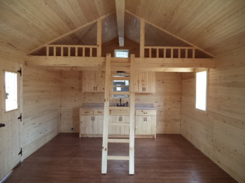 Standard Kitchen with Optional Loft and Ladder in White Tail Log Cabin – Project Small House