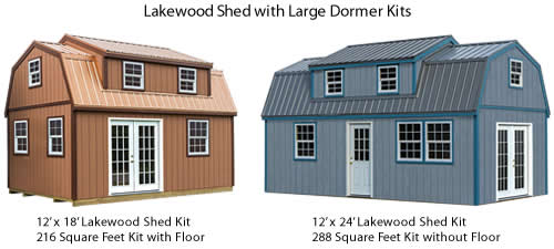Lakewood 12' x 18' and Lakewood 12' x 24' Shed Kits - Lakewood Shed Kit with Large Dormer – Project Small House