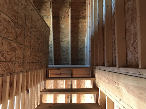 The top of the stairs - Summer Wind: Two Floor Storage Barn – Project Small House