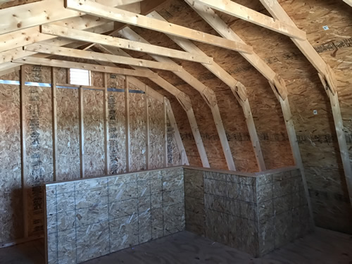 With the roof and the stairs, there is less room than we hoped. - Summer Wind: Two Floor Storage Barn – Project Small House