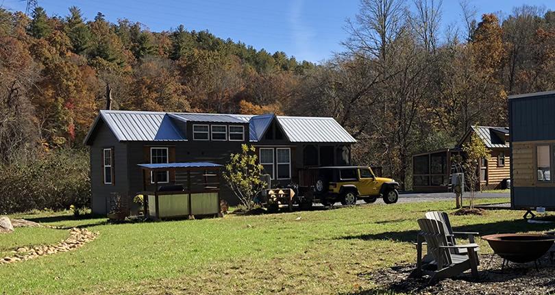 Tiny Log Cabins at Acony Bell Tiny Home Village