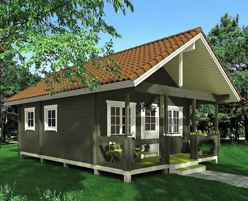 Allwood Timberline Cabin in green opaque stain with a tan barrel tile look metal roof. - Timberline 483 Square Foot Cabin Kit – Project Small House