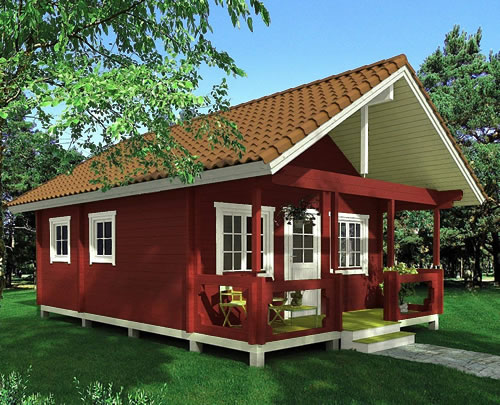 Allwood Timberline Cabin in barn red opaque stain with a tan barrel tile look metal roof. - Timberline 483 Square Foot Cabin Kit – Project Small House