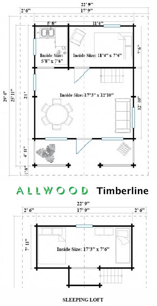 Allwood Timberline Cabin Floor Plans - Timberline 483 Square Foot Cabin Kit – Project Small House