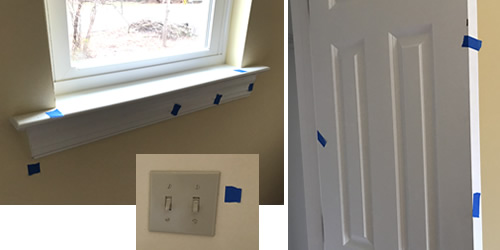 Every little piece of blue tape is something for the painters to correct. - We have Power! Finishing Up – Building our Schumacher Home – Project Small House