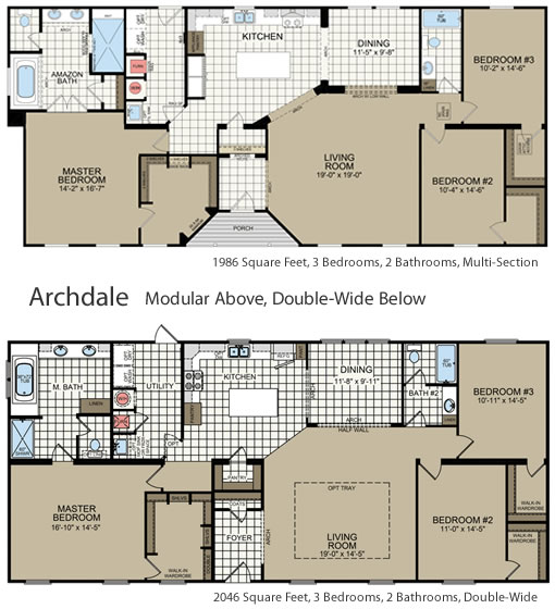 Compare the floor plans of the Archdale Modular with the Archdale Double Wide - Archdale Modular or Double Wide – Project Small House