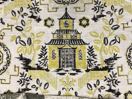 Pagoda print in chartreuse and black on a soft linen weight fabric - Foam & Fabric Outlet - Project Small House