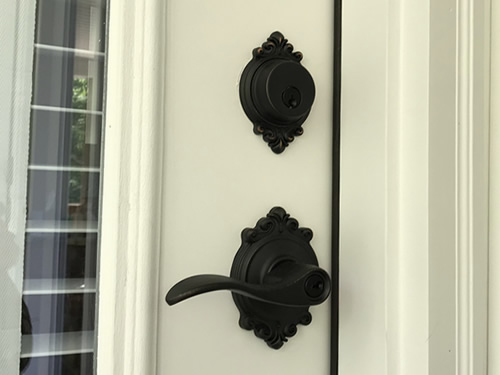 The door from our bedroom to the porch with Brookshire trim and Accent lever set