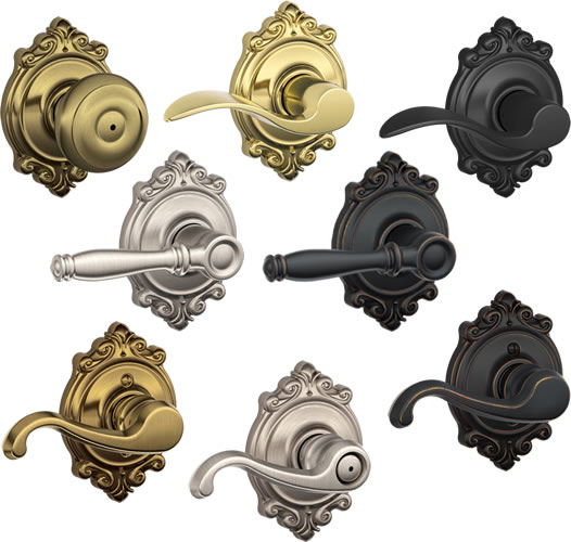 Brookshire Trim from Schlage comes with knobs or different kinds of levers in five finishes