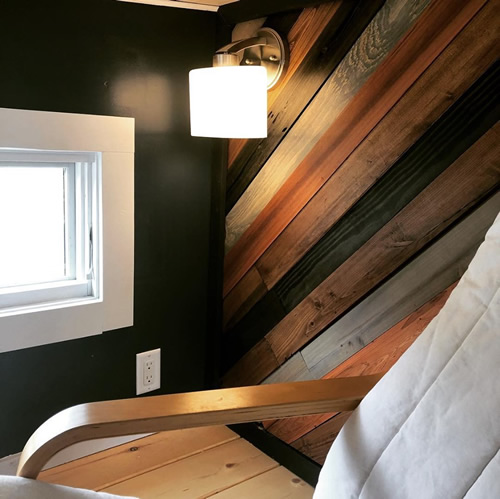 Unique customized wall in loft - Blue Ridge Tiny Homes Little Red Tiny Towable
