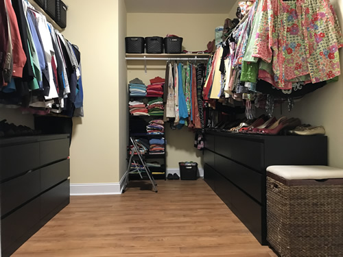 Finished closet with everything put away, pretty much.