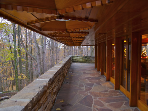 Kentuck Knob is made of tidewater red cypress, glass, and native sandstone. Photo by Jeff Kubina, Columbia, Maryland