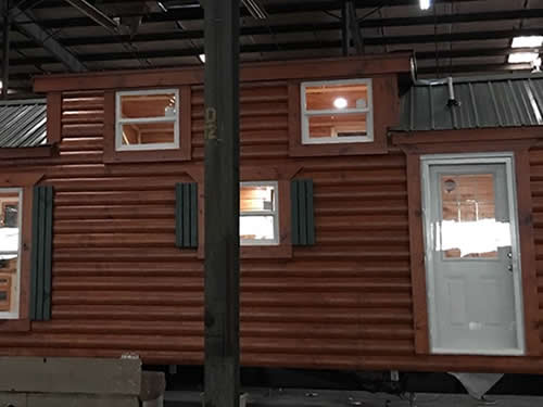 Dormer for the loft in a park model log cabin from Avery Cabin Co