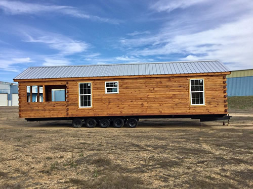 Park model log cabin from Avery Cabin Co ready for delivery