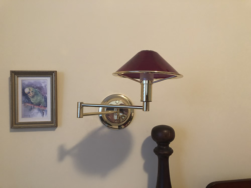 The swing arm lamp, installed