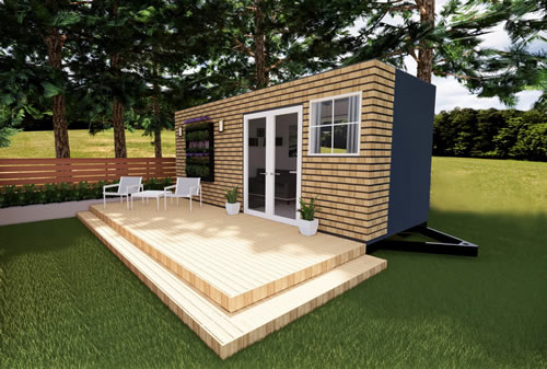 Concept drawing of a Casa Cubed container house with a large deck
