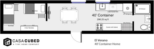 Casa Cubed 40' container house has up to 320 square feet.