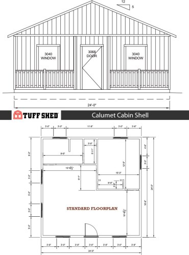 Calumet Cabin Shell - 576 square feet: One Bedroom, One Bathroom, Kitchen, Living Area