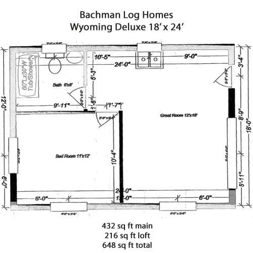 Bachman Log Homes 18' x 24' Wyoming Log Cabin Kit