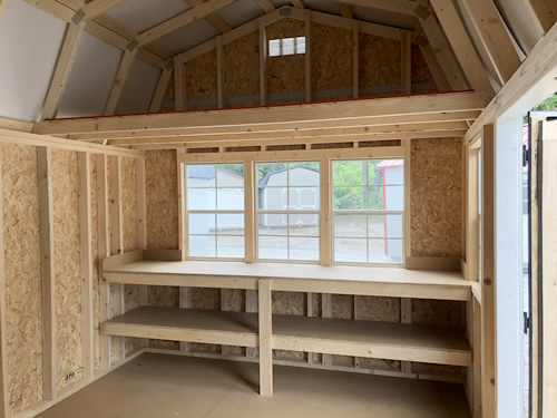 10' wide LP Smart Lofted Barn with optional windows and shelves