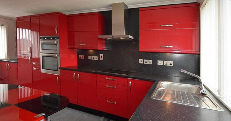 Bright Red Island Kitchen