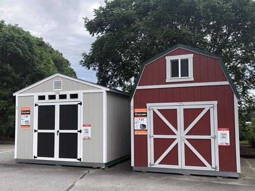 Tuff Sheds in the Home Depot Parking Lot