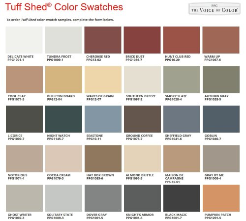 Tuff Shed Paint Swatches