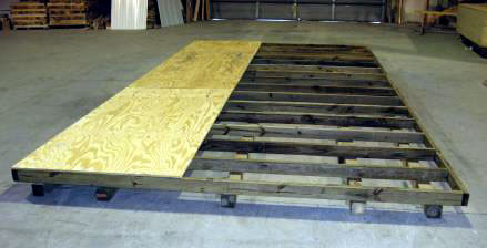 "PerformMax Tongue and Groove flooring Pressure treated 2x4 floor joists 16"" on center 3/4"" Pressure treated plywood flooring option available Pressure treated 4x4 skids"