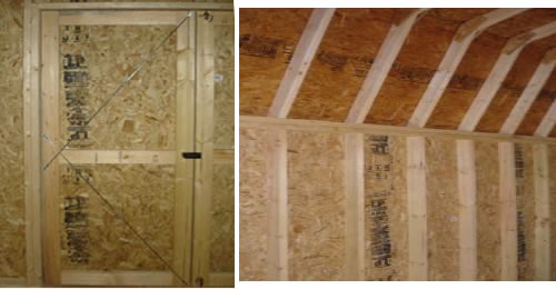 """Cross ties on inside of door if adjustment is necessary 16"""" On center framing construction 16"""" On center wall studs"""