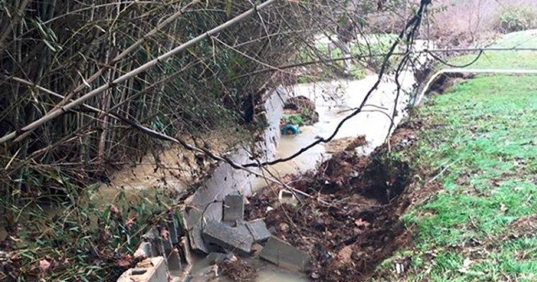 Broken Retaining Wall: Meadowbrook Terrace Streambank Restoration