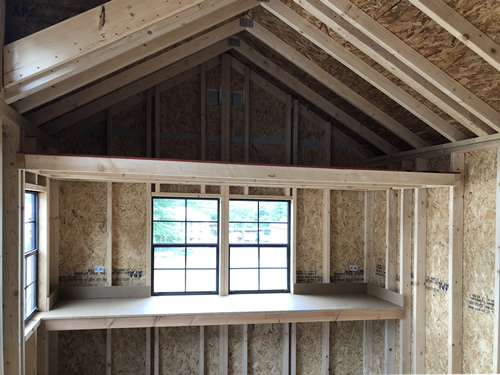 """Lots of additional windows for light and airflow 24"""" Workbench and 4' Loft"""