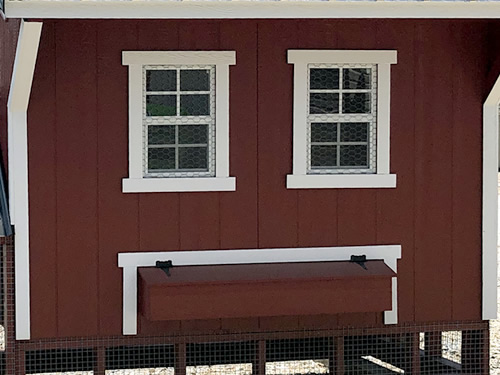 Two Windows and Nesting Boxes with Exterior Egg Access